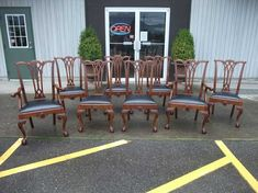 Chippendale Style Quartered Oak Dining Chairs - Set of 8 - Six from Antiques By Design Antique Dining Chairs, Dining Chair Set, Outdoor Furniture Sets, Outdoor Decor, Arm Chairs, Apron, Shell, Victorian, Construction