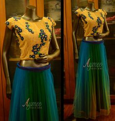 Fully stitched crop top and skirt (SIZE-36) (OT6133)PRICE:INR 4115 (including courier within India)Material :TOP-thread and sequins worked net (BUST SIZE-36 TOP LENGTH-17)SKIRT-shaded net  waist size-30 skirt length- 40STATUS-AVAILABLETO BUY this item click the link belowhttps://www.sellfie.me/product/4152  13 October 2016