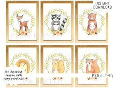 Woodland Animal Baby Nursery Art. https://www.etsy.com/listing/555873539/woodland-animals-nursery-art-printable