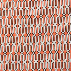 "Coral Cream Mod Geo Cotton Spandex Blend Knit Fabric - Pretty colors of creamsicle coral orange and light cream with black border mod geo design on a super soft cotton rayon spandex blend knit.  Fabric is lighter weight with a nice drape and 4 way stretch.  Pattern repeat is 2 1/2"".  ::  $7.00"