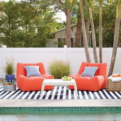 Bringing the beach to your backyard.⠀ ⠀ Sunbrella Tangerine Canvas Dune Chair by @annieselke ⠀ These chairs are designed for people who love being outdoors in comfort, and want easy elegant furniture made to withstand the elements. Sleek lines and inviting, cushioned upholstery bring a new standard of beauty and function to outdoor living.  #outdoorliving #outdoorseating #outdoordesign #poolside #annieselke #design #interior4all #finedesign #interiordesign #interiorstyling #lovedesign…