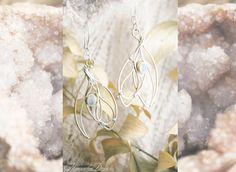 Fairy Wings, brass and silver earring with moonstone www.moonalia.etsy.com