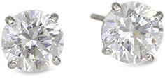 10k White Gold Swarovski Zirconia Studs (1 cttw)  http://electmejewellery.com/jewelry/earrings/stud/10k-white-gold-swarovski-zirconia-studs-1-cttw-com/