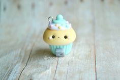 Kawaii Mint Gumball Machine Cupcake  Charm by TheClayCroissant