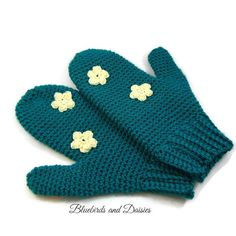 Ladies Teal Mittens by Bluebirdsanddaisies on Etsy
