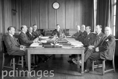 Left to right: C.T. Barton (Leicester Mercury), Frank Webber (Western Mail and Echo, Cardiff), Harold R. Irvine (West Lancashire Gazette, Blackpool), R. J. Lewis (Daily Mail Vice Chairman), W. A. Hawkins (Bristol Evening Post Chairman), E. W. Davis (General Manager), H. Martin (Editor in Chief), F. J. Harvey (Secretary), L. P. Scott (Manchester Guardian), J. H. Walker (Bath and Wilts Chronicle and Herald).