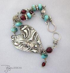 Mixed Media Jewelry, Artisan Heart Bracelet, Stamped Solder Rhinestone Bracelet, Boho Bohemian, Turquoise, Sterling Silver, JryenDesigns