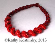 Beaded Red Spiral Rope Pattern | Bead-Patterns.com