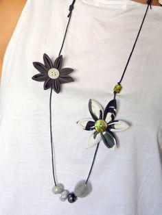 Asymmetrical lightweight grey kanzashi flower by ImwtheBand, €19.50