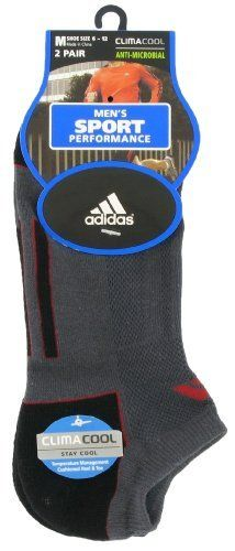 adidas Men's Climacool II 2-Pack No Show Sock, Graphite/Black/University Red, Shoe Size 6-12 by adidas. $12.00. Polyester, Cotton, Nylon, Spandex. 56% polyester/ 38% cotton/ 4% Nylon/ 2% spandex. ClimaCool, adidas' 360 degree ventilation technology, keeps your feet cool and dry in these performance socks. Half cushioned on ball, heel and toe for added durability and comfort. Order Multiple: Six 2-packs