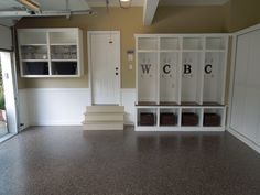 great way to use garage space to create a mudroom for the kids!