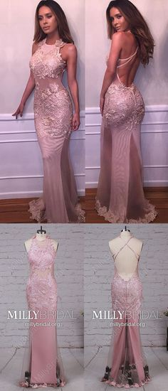 Long Prom Dresses,Mermaid Prom Dresses For Teens,Pink Prom Dresses Open Back,Tulle Prom Dresses Sexy,Cheap Prom Dresses Lace