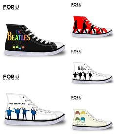 [Visit to Buy] FORUDESIGNS Women Superstar The Beatles Shoes Famous Rock Band Shoes Gun N Rose Shoes Woman Help Girls High top Canvas Shoes #Advertisement