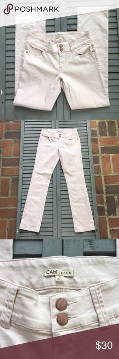 """CAbi Light Pink Straight Leg Jeans The subtle pink adds interest and style to these CAbi straight leg jeans.  The detail in the pink buttons bring out the look for that finishing touch. Made from a cotton/spandex blend. Approximate measurements lying flat: Top 16"""", In Seam 33"""" 20184 CAbi Jeans"""