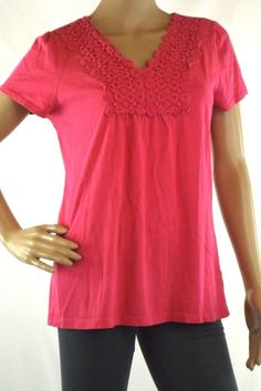 Style & CO. M Pink Short Sleeve Top Crochet Accent V-Neck  Pleated 100% Cotton #StyleCO #KnitTop #Casual