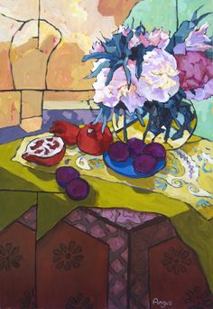 """Peonies and Plums on Painted box Acrylic 36"""" X 24"""" - See more at: http://ventanafineart.com/angus/#sthash.0E4EOXnp.dpuf"""