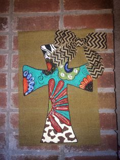 Cross with Chevron Bow-Personalized-Burlap Garden Flag on Etsy, $30.00