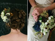 Love this brides hair –bun on one side, flowers on the other!