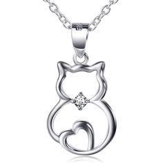 "925 Sterling Silver Gems Accented Cat heart Charm Pendant Necklace 18"" #Harmonybell #Charm"