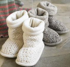 Knit Booties These cozy knit booties ($69) from Viva Terra are hand-made by a small group of indigenous people in South America. Made of cotten and wool with agave fiber soles for slip protection they are available in natural or grey.