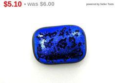 Vintage Brilliant Cobalt Blue Black Glass Pin #vintage #jewelry #pin