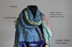 Handwoven cotton scarf in shades of blue with pocket, bringing confidence to your life