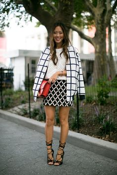 ec880eaa3e7 Aimee Song made it all about the prints with geometric pattern mixing — oh