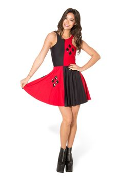 Harley Quinn Reversible Skater Dress (WW $75AUD / US $70USD) by Black Milk Clothing