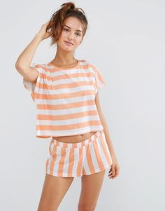ASOS | ASOS Contrast Stripe Tee & Short Pyjama Set at ASOS