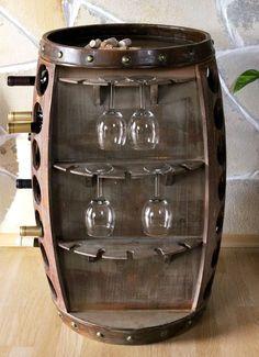 Weinregal Weinfass Bar Braun H-84cm Nr.0416 Flaschenständer Regal Fass für 42Fl.: Amazon.de: Küche & Haushalt