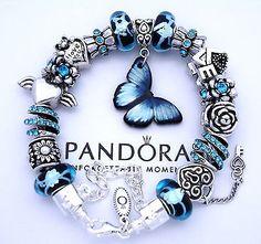 Authentic Pandora 925 Silver Charm Bracelet Blue Butterfly Love European Charms