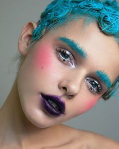 Doll inspired make up - blue brows, plum lips, intense blush cheeks