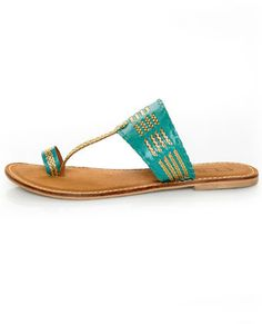 LuLu*s [CL by Laundry Crystal Ball Turquoise & Gold Braided Flat Sandals] -- $49.00 #lovelulus
