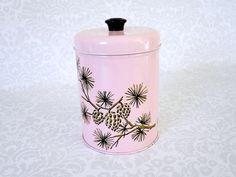 Vintage tins on etsy https://www.etsy.com/listing/213811690/vintage-pink-storage-tin-canister-retro