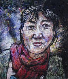 YiPyung Kim 김이평 // 'Portrait of Han, Sang Hye' '한상혜의 초상' // 89x100cm, Reactive dye, Acid dye, Silk, 2014