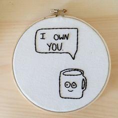 Funny Coffee Embroidery Hoop Art