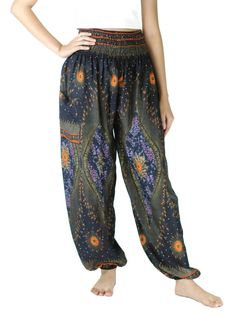 Comfy pants Peacock print Hippies pants /Boho pants Yoga by NaLuck