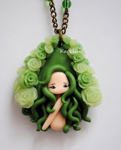 Kawaii chibi ooak doll green nixie polymer clay fimo necklace