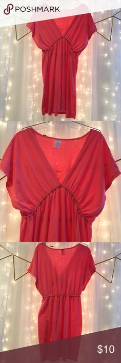 Coral empire short swim suit cover up XL Flowy shoulder coral colored coverup in an XL size. Comfy elastic, empire plunging waist coverup fits most above the knees. Great for your tropical get away or laying around the pool. Xhilaration Swim Coverups