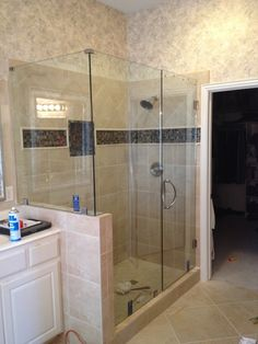 Image result for shower with half glass wall next to vanity
