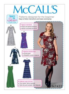 McCall's 7432 Misses' Knit Dresses with V, Crew or Scoop Necklines sewing pattern