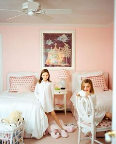 Chic blush pink girls room | Timothy Whealon.
