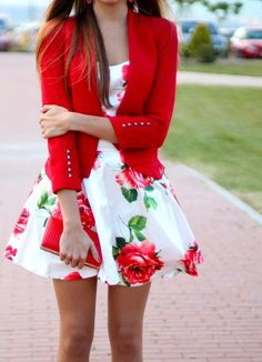 red jacket blazer floral dress white women outfit apparel clothing fashion style beautiful summer purse