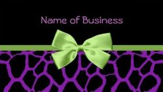 Trendy Purple Giraffe Print With Green Ribbon Business Card  http://www.zazzle.com/trendy_purple_giraffe_print_with_green_ribbon_business_card-240988625936177632?rf=238835258815790439&tc=gbcwebpin Spread the word about your awesome new business with these cute and trendy purple and black giraffe pattern print business cards with a girly green ribbon tied in a bow.