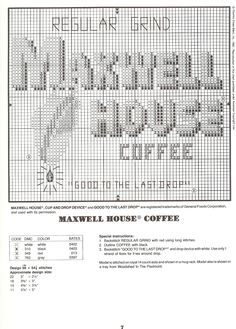 maxwell house kithen cross stitch