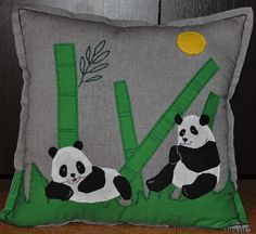 funny panda bear handmade pillow case