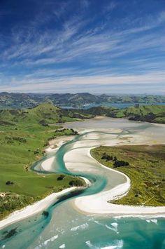 Hoopers Inlet and Allans Beach, Otago Peninsula, Dunedin, South Island, New Zealand - aerial