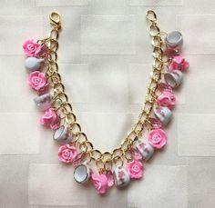 Teresa Tea Cups, Crystals and Roses Bracelet