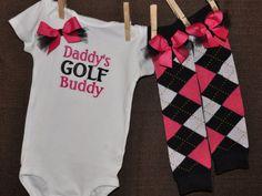 Daddy's Golf Buddy Onesie Bodysuit with Matching Argyle Legwarmers - Leg Warmers - Baby Girl Gift