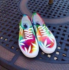 shoes tie dye vans marijuana tie die vans weed leaves colourful cool stoner tie dye hemp leaf print weed shoes rainbow tie dye pot cannabis